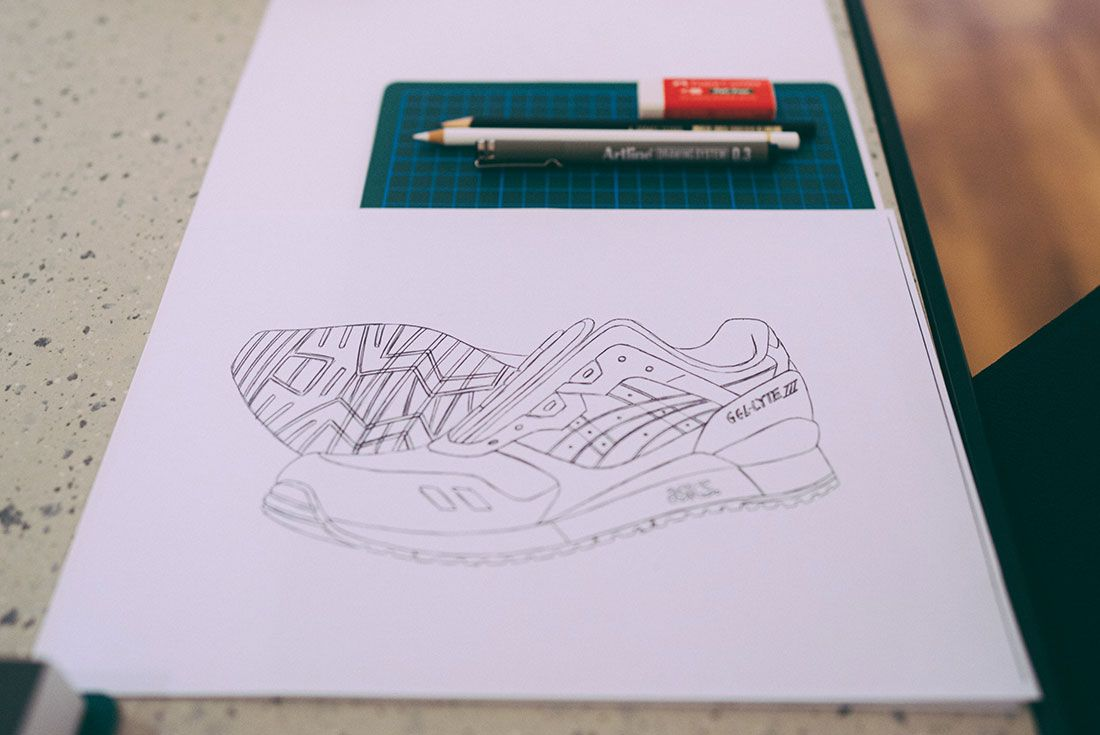 Asics Gel Lyte Iii 30Th Anniversary Sneaker Sketching Masterclass Drawing Paper