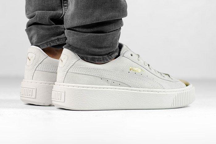 Puma Suede Platform Gold White Black Wmns On Feet 8