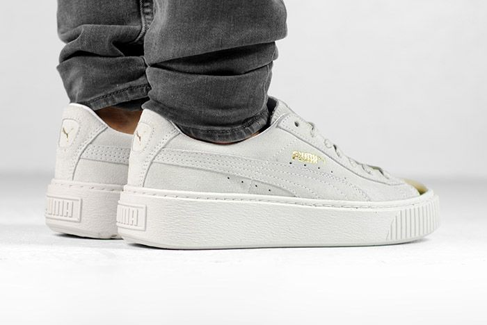 Puma Suede Platform Gold White Black Wmns On Feet 8