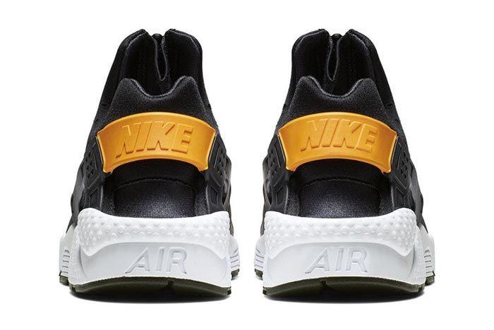 Nike Air Huarache Run Ext Zip Black Gold Ci0009 001 Heel Shot