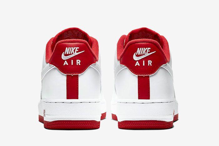 Nike Air Force 1 Low White University Red Cd0884 101 Heel