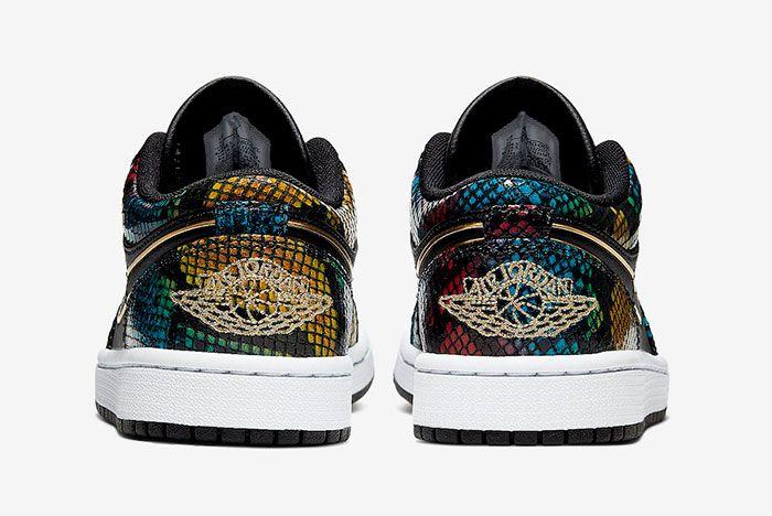 Air Jordan 1 Low Multicolor Snakeskin Cw5580 001 Heel Shot