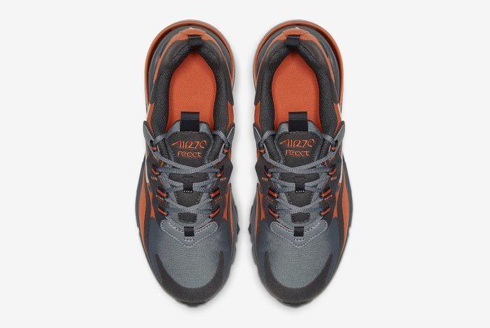 Nike Air Max 270 React Grey Orange Gs Top