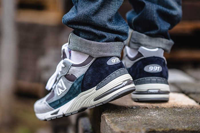New Balance 991 Grey Blue Made In Uk On Foot Lifted Heel