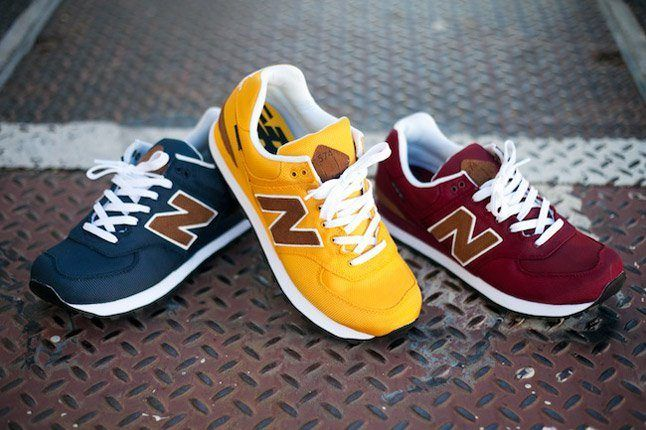 New Balance 574 Backpack Edition Maroon Navy Yellow Feature 1