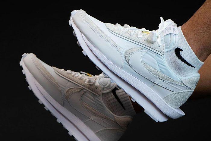 Sacai Nike Ld Waffle White Lateral On Foot Side Shot