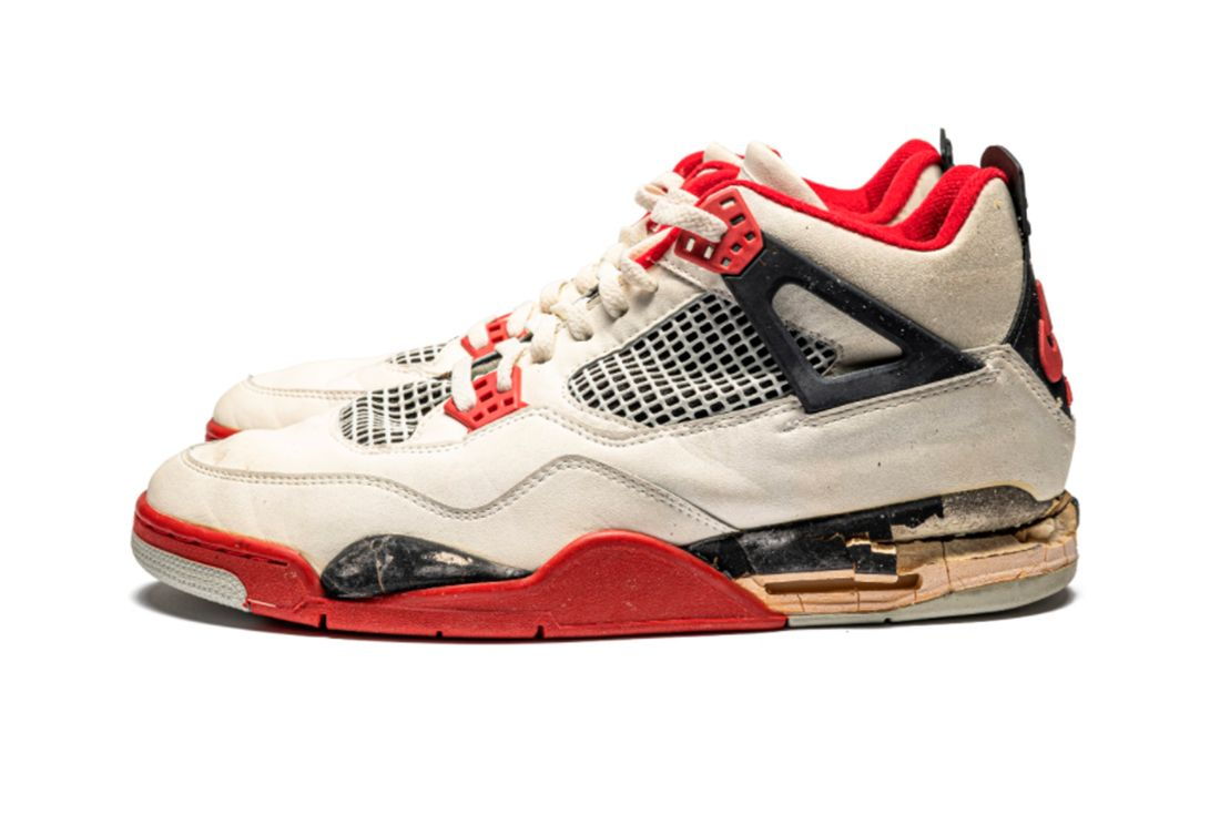 Air Jordan 4 'Fire Red' Game-Worn and Signed Player Exclusive Left