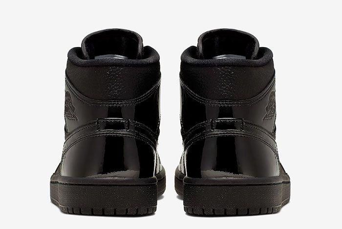 Air Jordan 1 Mid Triple Black Patent Bq6472 003 Rear
