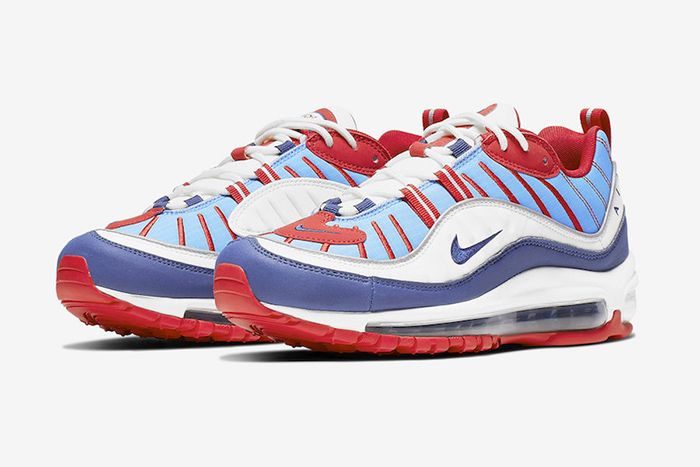 Nike Air Max 98 Sky Blue Navy Red White Ah6799 112 Release Date Pair