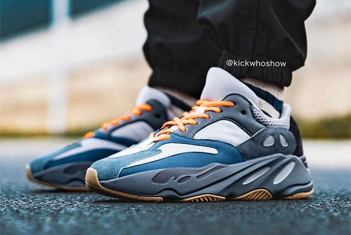 Adidas Yeezy Boost 700 Teal Blue On Foot Left 2