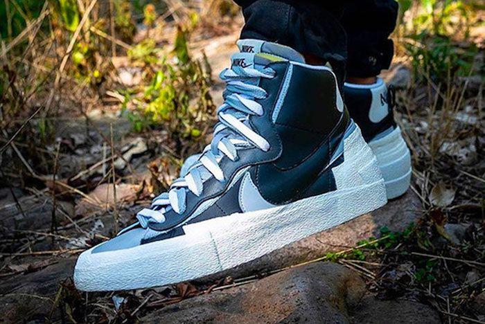 Nike Sacai Blazer Mid Grey Black Left