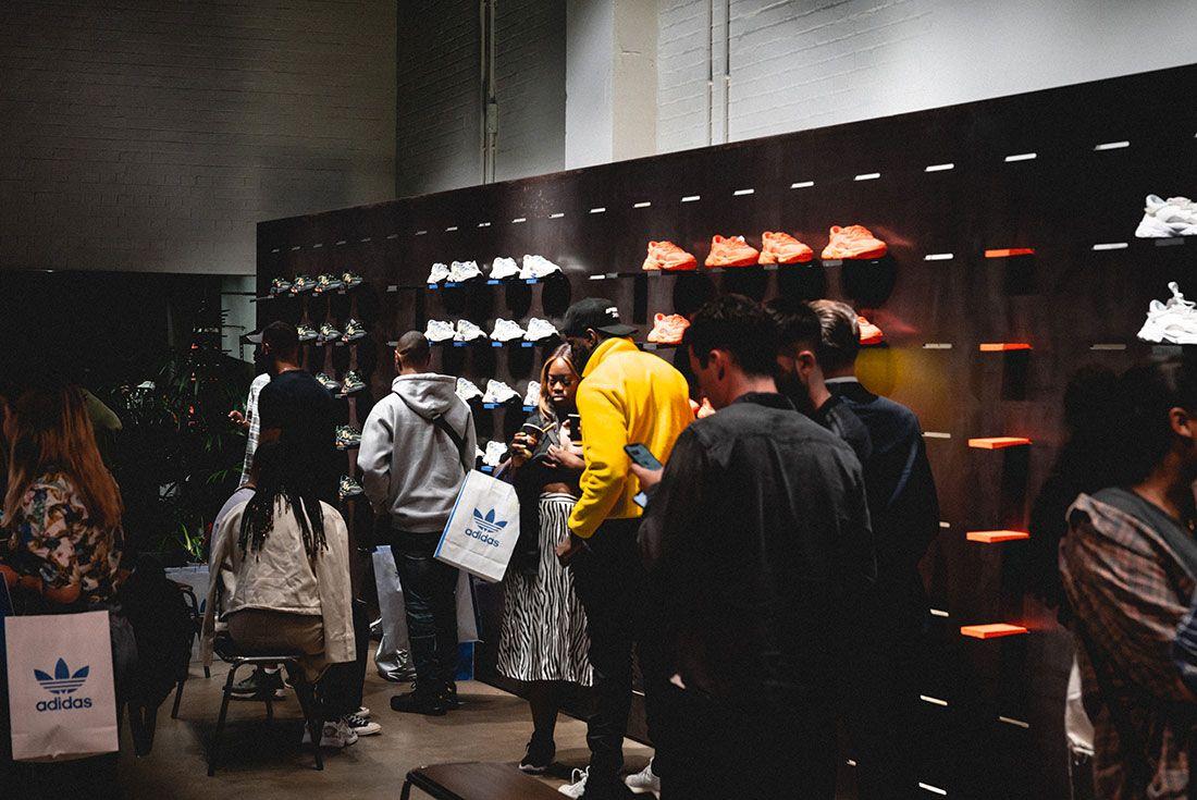 Adidas Ozweego 2019 Sneaker Freaker London Launch Crowd Shot Sneaker Display1