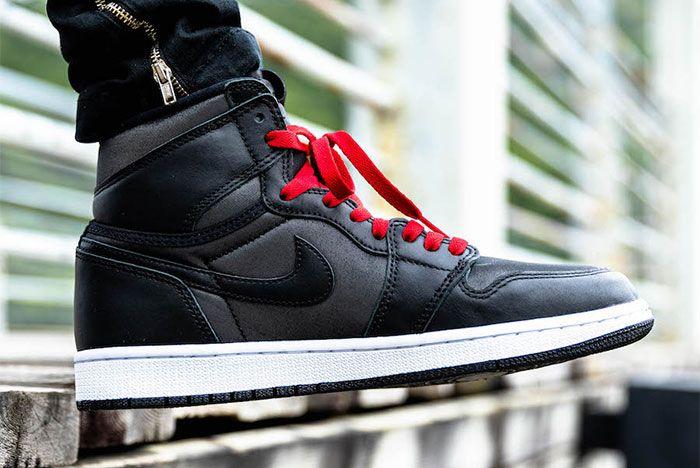 Air Jordan 1 Black Satin On Foot5
