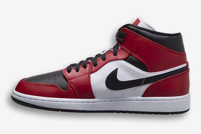 Air Jordan 1 Mid Red Black White 554724 069 Medial Side Shot