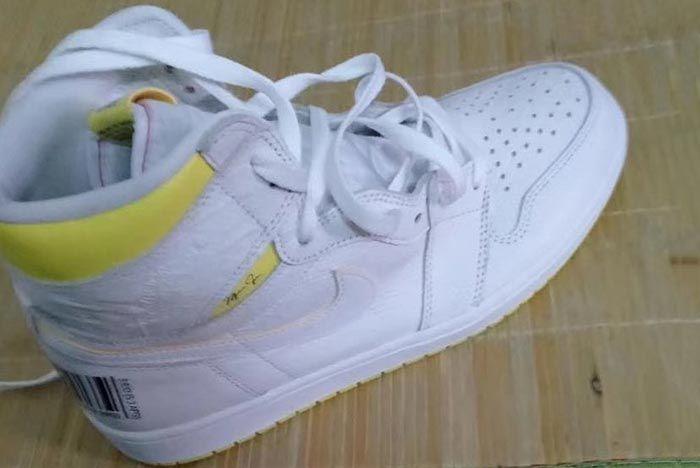 Air Jordan 1 White Yellow Barcode Right Side Shot
