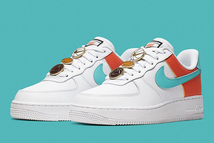 Nike Air Force 1 White Aqua Clay Aa0287 106 Front Angle