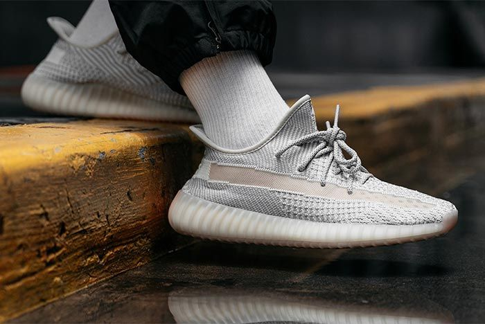 Adidas Yeezy Boost 350 V2 Reflective Lundmark On Foot Hovering Lateral Side Shot