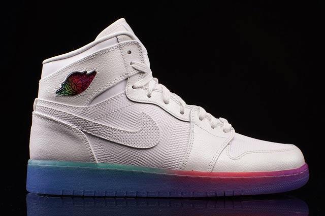 white jordans with rainbow bottom