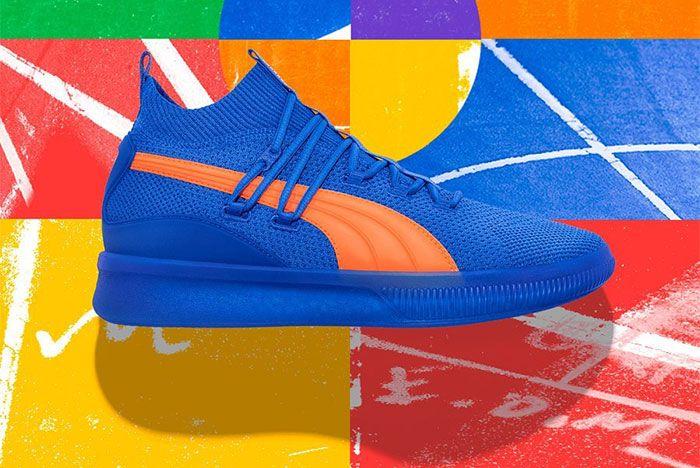 Puma Clyde Court City Pack Blue Orange Left Side Shot