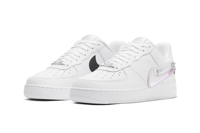 Nike Air Force 1 White Zippered Swoosh Pair