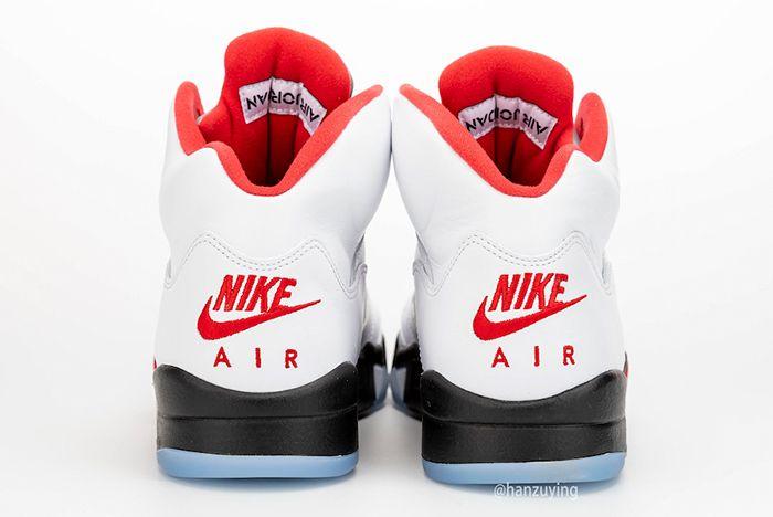 Air Jordan 5 Fire Red Left Side Heel