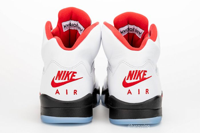 Air Jordan 5 Fire Red Left Side Heel