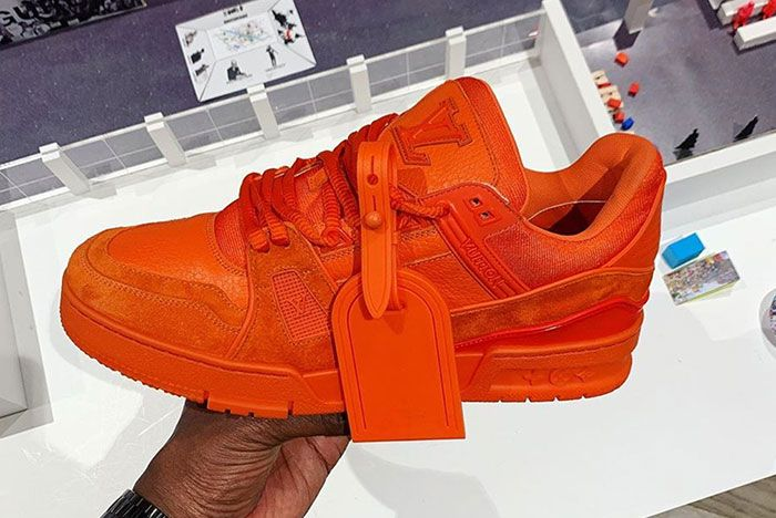 Virgil Abloh Orange Louis Vuitton Sneaker Lateral In Hand Side Shot