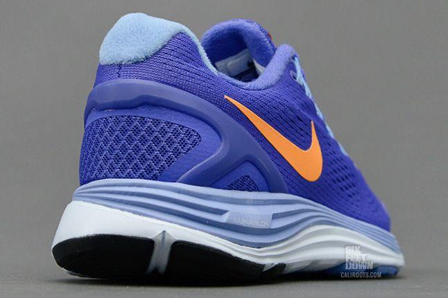 Nike Lunarglide 4 Violet Force Bright Citrus Heel 1