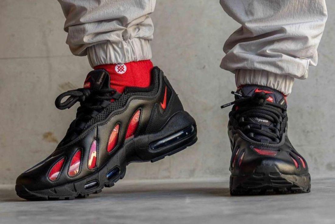 Supreme x Nike Air Max 96 on foot shots
