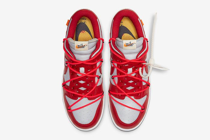 Off White Nike Dunk Low Red Grey Ct0856 600 Top