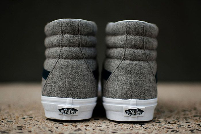 Vans Sk8 High Reissue Varsity Grey Wool Flannel 5
