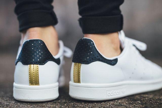 Adidas Stan Smith White Navy Gold 2