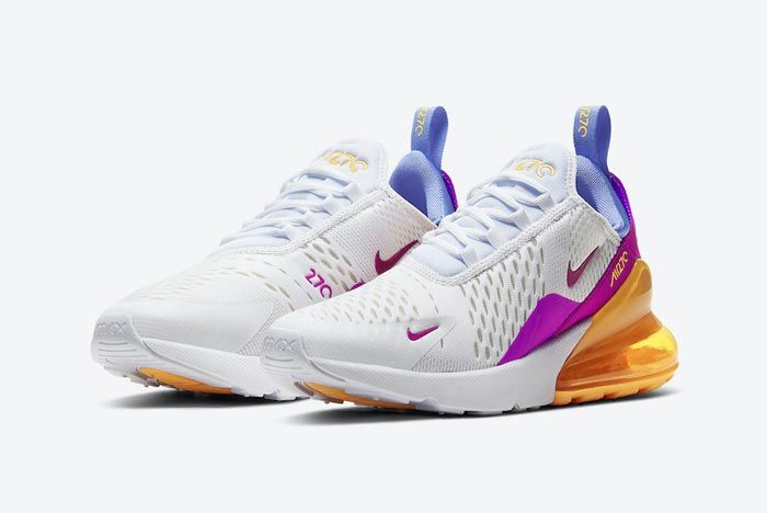 Nike Air Max 270 White Orange Pink Blue Yellow Pair