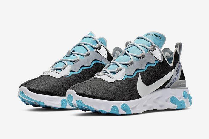 Nike React Element 55 Wolf Grey Pure Platinum Aqua Pair
