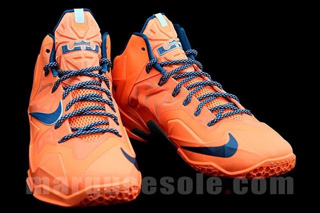 Nike Le Bron 11 Orange Navy Angle