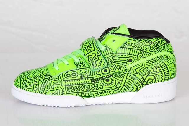 Keith Haring Reebok Classic Workout Mid Strap Neon Green 2