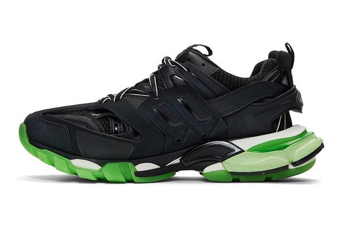 Balenciaga Track Sneaker Black Neon Green Medial Side Shot