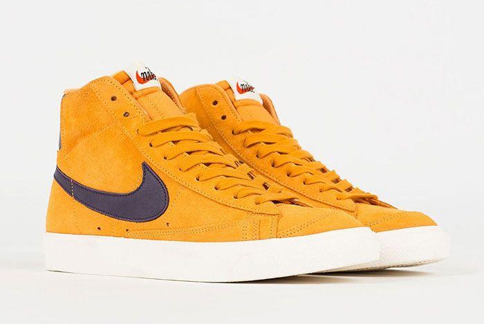 Nike Blazer Mid Vintage Yellow Maroon Cj9693 800 Front Angle