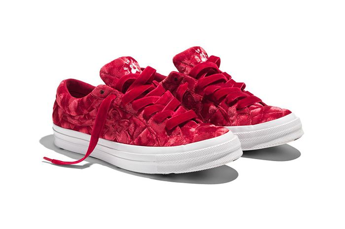 Golf Le Fleur Converse One Star Quilted Velvet Red Release Date Pair