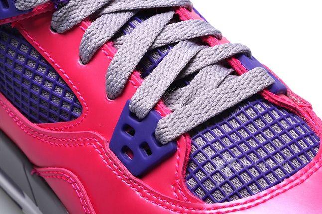Air Jordan 4 Pink Foil Lace Detail