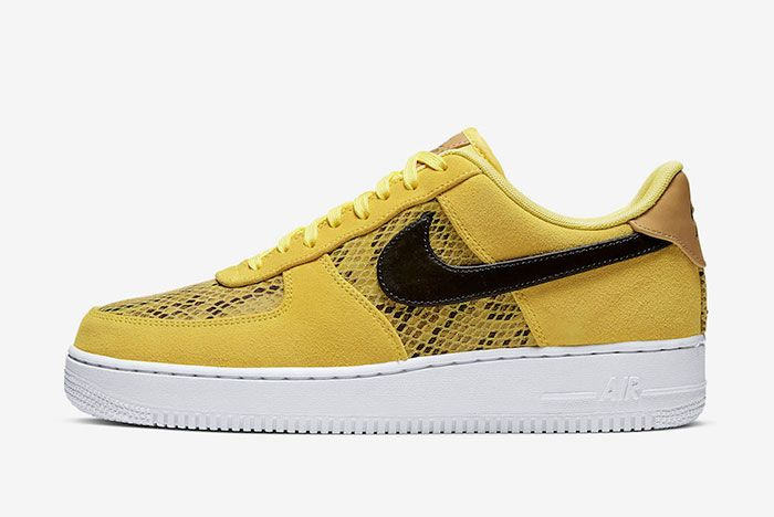Nike Air Force 1 Low Yellow Snakeskin Bq4424 700 Lateral