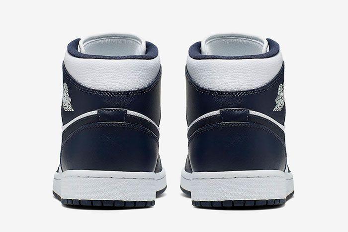 Air Jordan 1 Mid White Obsidian Metallic Gold 554724 174 Release Date 5 Heel