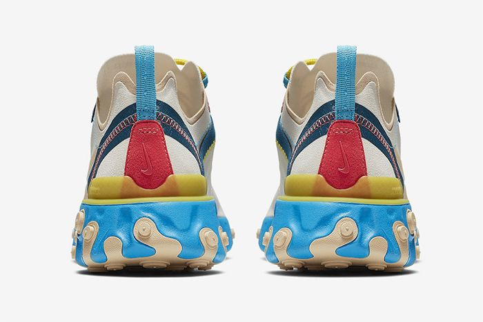 Nike React Element 55 Blue Yellow Peach Release Date Heel