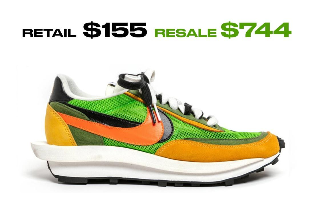 Saccai Nike Ld Waffle Green Multi Right Side Shot