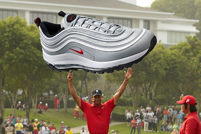 Tiger Woods Holding Air Max 97 Golf