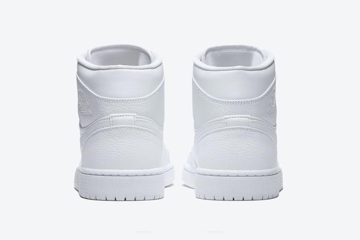 Air Jordan 1 Mid Triple White Heels