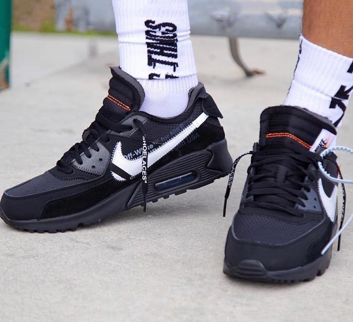 aglio Eclissi solare Tappeto  On-Foot Look: Off-White x Nike Air Max 90 Black - Sneaker Freaker