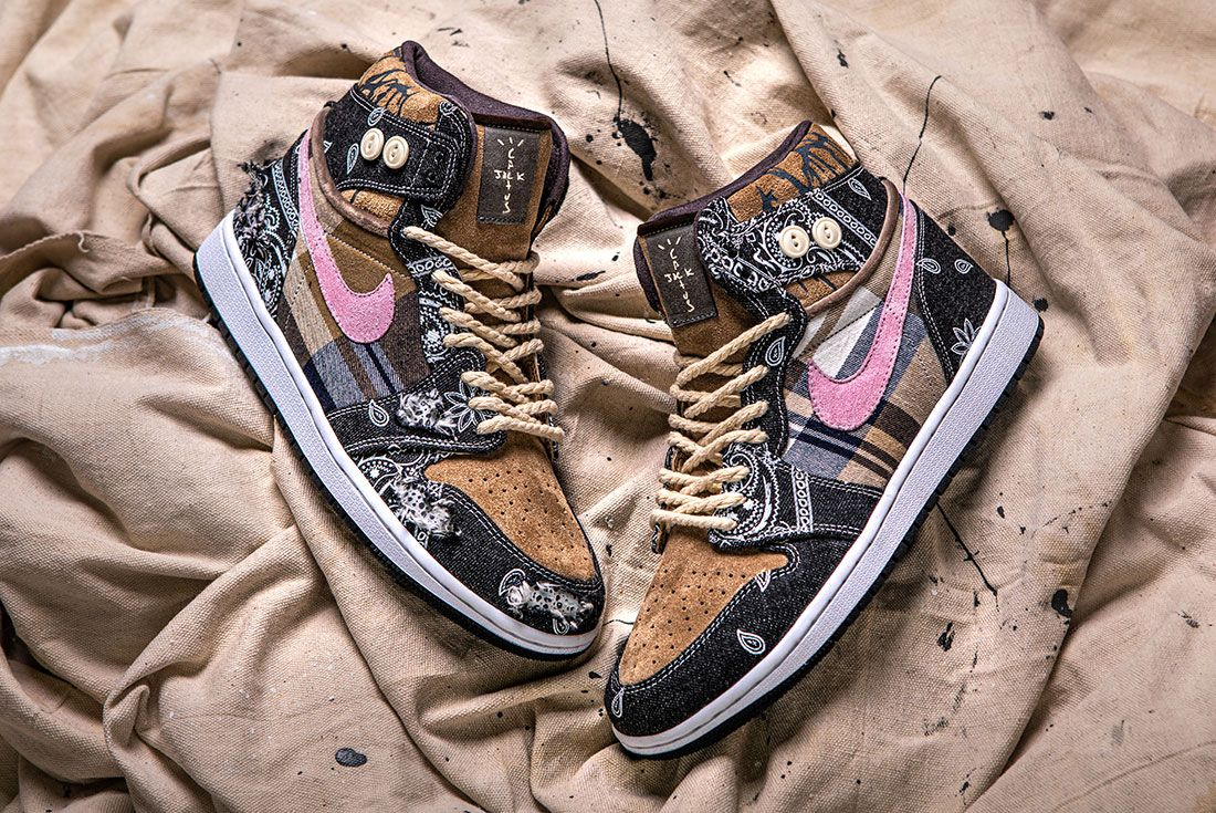 Bespokeind Travis Scott Air Jordan 1 Custom Bandana Sneaker Freaker Hero Shot9