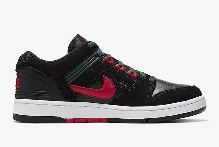 Nike Sb Air Force 2 Low Black Deep Forest Gym Red Ao0300 002 Medial