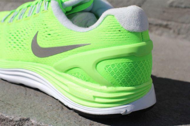 Nike Lunarglide 4 Electric Green Quater Heel 1